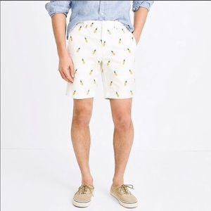 Jcrew white chino pineapple shorts 32